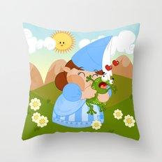 kissing the enchanted frog Throw Pillow