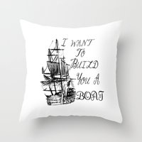 larry stylinson Throw Pillows featuring I want to build you a boat. Harry Styles. Tattoo. (Larry Stylinson) by Arabella