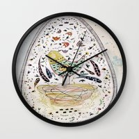 egg Wall Clocks featuring Egg by Infra_milk
