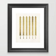 Gold Fancy Trees Framed Art Print