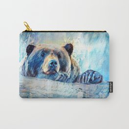 Blue Impressionist Bear Painting Carry-All Pouch