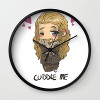 cuddle Wall Clocks featuring Cuddle me by AlyTheKitten