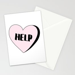 Help Candy Heart Stationery Cards