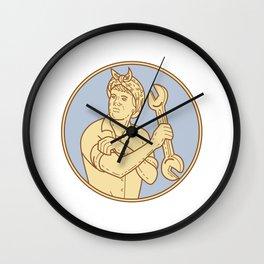 Female Riverter Rolling Sleeve Spanner Mono Line Wall Clock