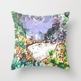 Large Stone Surrounded with Succulent Throw Pillow