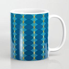 Circular Geometric Vintage Motif Pattern in Gold, Azure and Persian  Coffee Mug