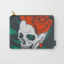 Dark Art Beauty in Everything Smiling Skull and Rose Carry-All Pouch
