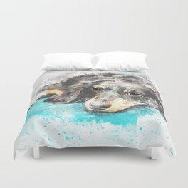 dog dachshund design Duvet Cover
