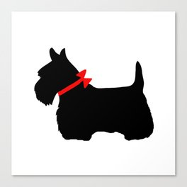 Scottie Dog with Red Bow Canvas Print