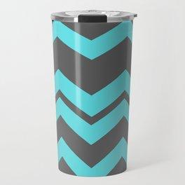 Chevron Pattern - Blue/ Smoke Gray Travel Mug