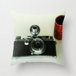 vintage photo camera Throw Pillow