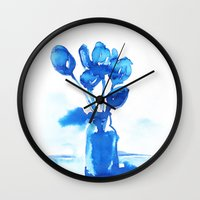 tulips Wall Clocks featuring Tulips by Zsofi Porkolab