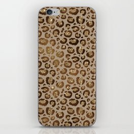Brown Glitter Leopard Print Pattern iPhone Skin