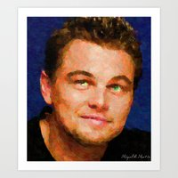 leonardo dicaprio Art Prints featuring Hollywood - Leonardo DiCaprio by Miguel A. Martin