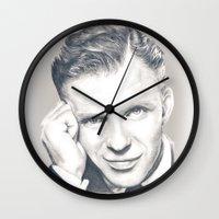 frank sinatra Wall Clocks featuring Frank Sinatra by Heather Andrewski