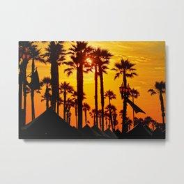 HB Pier Plaza Palms Metal Print