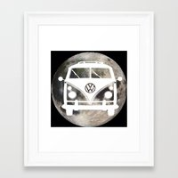 volkswagon Framed Art Prints featuring Moon Wagon by Isaak_Rodriguez