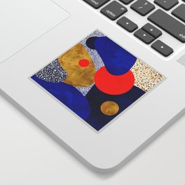 Terrazzo galaxy blue night yellow gold orange Sticker