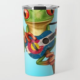 Tree Frog Playing Acoustic Guitar with Flag of Colorado Travel Mug