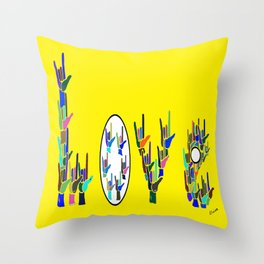 ASL LOVE HANDS TYPOGRAPHY Throw Pillow