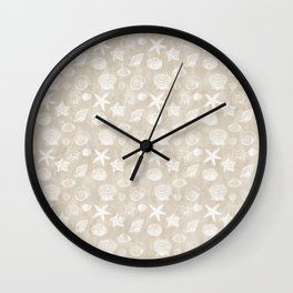 Cream Beige White Beach Shells Wall Clock