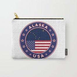 Alaska, Alaska t-shirt, Alaska sticker, circle, Alaska flag, white bg Carry-All Pouch