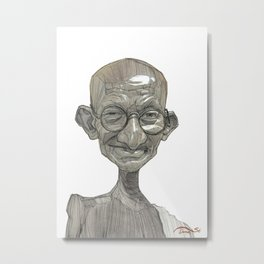 Mahatma Gandhi illustration portrait Metal Print