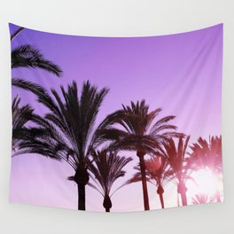 Purple Californian Vibes Palm tree beach photography Wall Tapestry