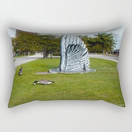 Geese and Wing Sculpture: Life Imitates Art (Chicago North Pond Collection) Rectangular Pillow
