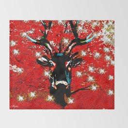 RED Reindeer Sparkle TWINKLE Throw Blanket