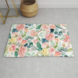 Seamless Pattern Watercolor Painting Of Lush Beautiful Spring Roses Green Leaves Cottage Cozy Style Rug