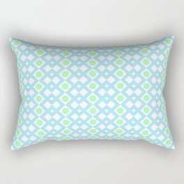Geometric Pattern - Diamonds and Dots - Turquoise & Green Rectangular Pillow