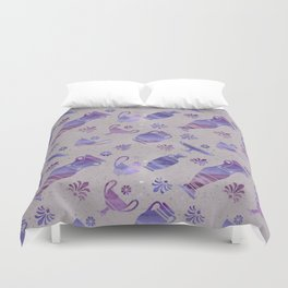 Greek vase on gray background. Duvet Cover