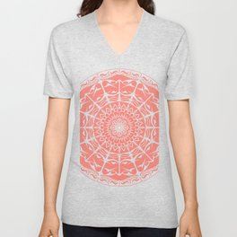 Coral Mandala on Light Background Unisex V-Neck