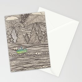 boat in sea doodle Stationery Cards