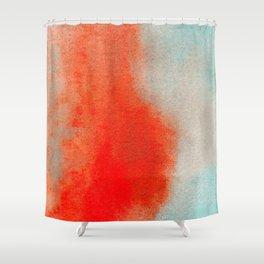 Abstract Watercolor Minimalist Rust Series - Untitled III orange turquoise marble Shower Curtain