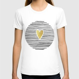 Gold Heart And Black ink abstract horizontal stripes background.  T-shirt