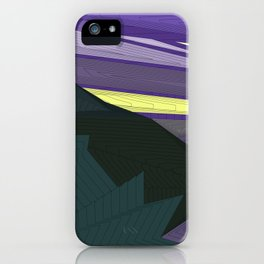 Psychedelic Magic landscap with stylised mountains, sea and green Sun. iPhone Case