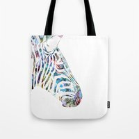zebra Tote Bags featuring Zebra by NKlein Design