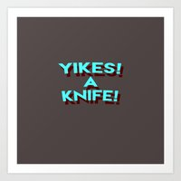 Yikes A Knife! blue Art Print
