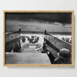 Into the Jaws of Death - D-day Vintage Photo by Robert F. Sargent Serving Tray