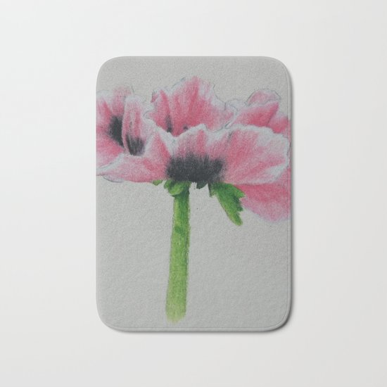 Pink Poppy Sketch Bath Mat