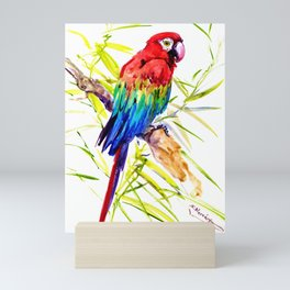 Parrot Scarlet Macaw, Tropical Birds, Jungle Red, Green Blue bright colored tropical artwork Mini Art Print