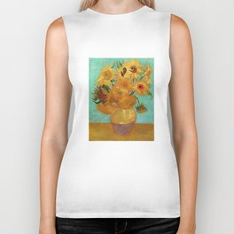 Vincent Van Gogh Twelve Sunflowers In A Vase Biker Tank