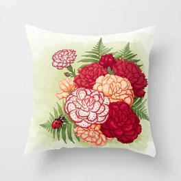 Full bloom | Ladybug carnation Throw Pillow