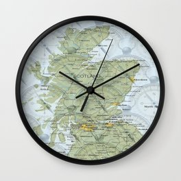Map and Compass Wall Clock