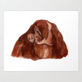 Orangutan love Art Print