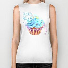 Cupcake watercolor illustration Biker Tank