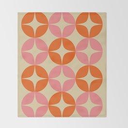 Mid Century Modern Pattern in Pink and Orange Throw Blanket