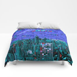 new york city panorama blue Comforters